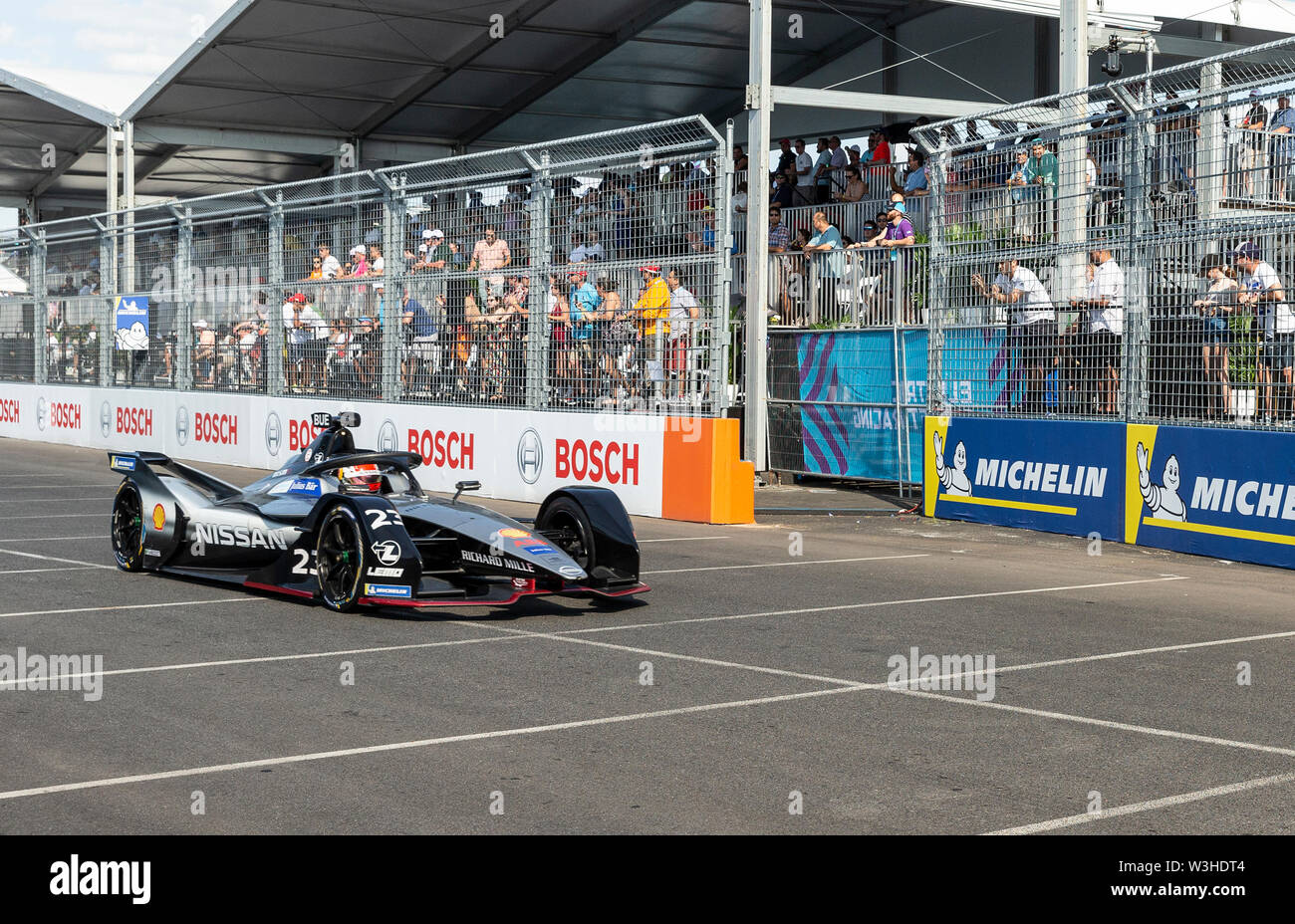 New York, United States. 14th July, 2019. Sebastien Buemi of Nissan team drives electric racing car during New York City E-Prix 2019 Formula E Round 13 at Red Hook Credit: Lev Radin/Pacific Press/Alamy Live News - Stock Image