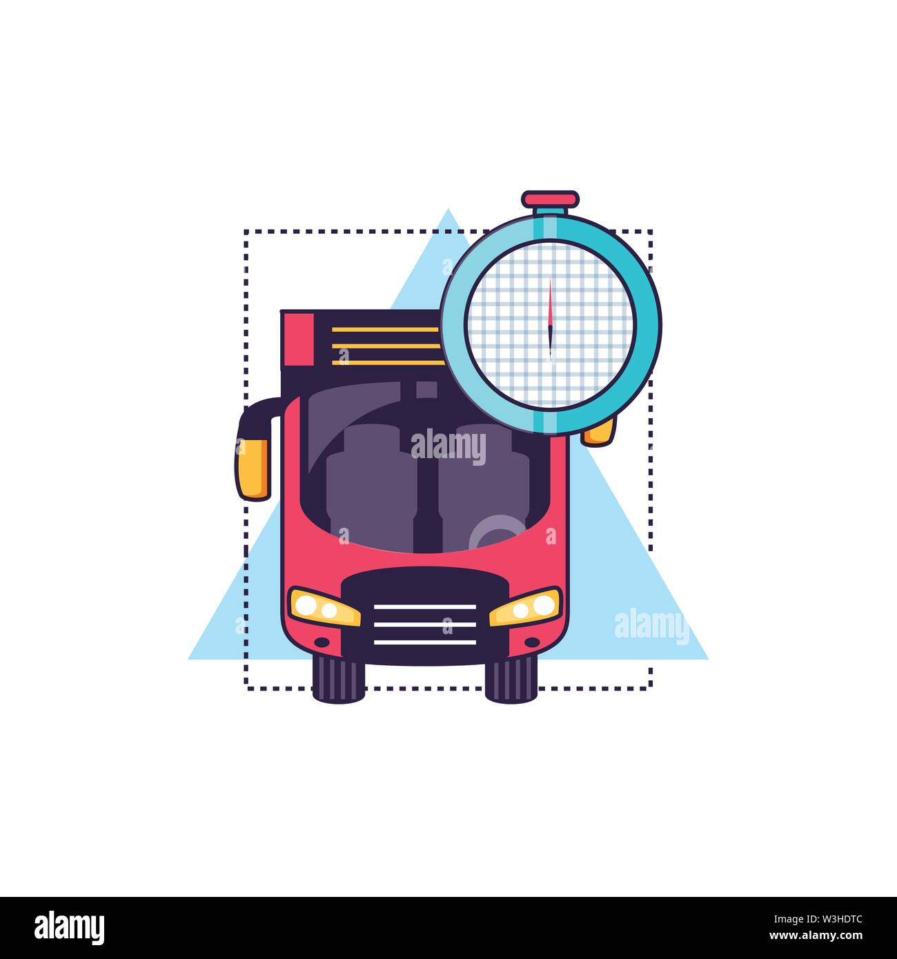 compass guide device with bus vector illustration design - Stock Image
