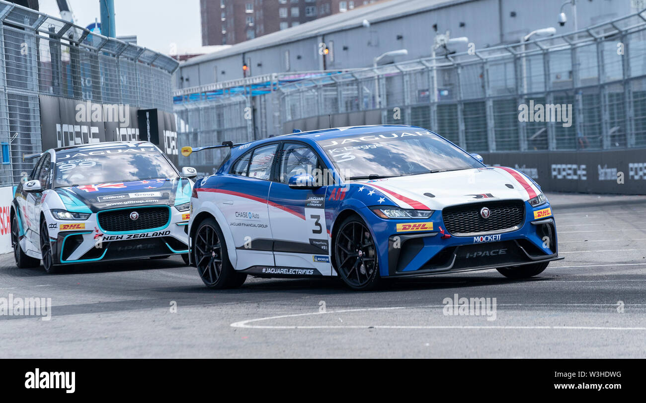 New York, United States. 14th July, 2019. Katherine Legge drives car during Jaguar I-Pace E-Trophy race during New York City E-Prix 2019 Formula E Round 13 at Red Hook Credit: Lev Radin/Pacific Press/Alamy Live News - Stock Image