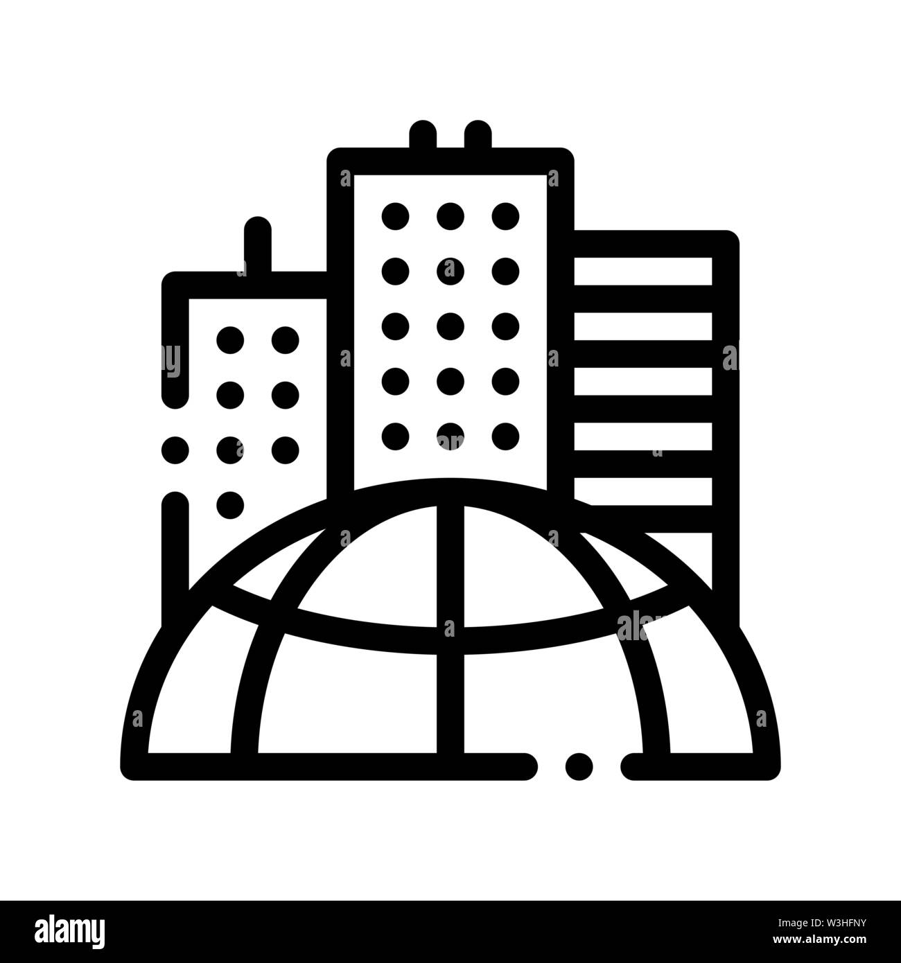 Skyscraper Earth Problem Vector Thin Line Icon Stock Vector