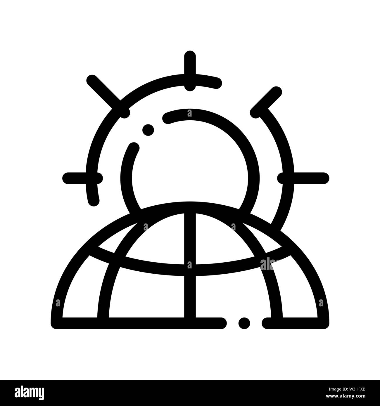 Warming Sun Planet Problem Vector Thin Line Icon Stock Vector