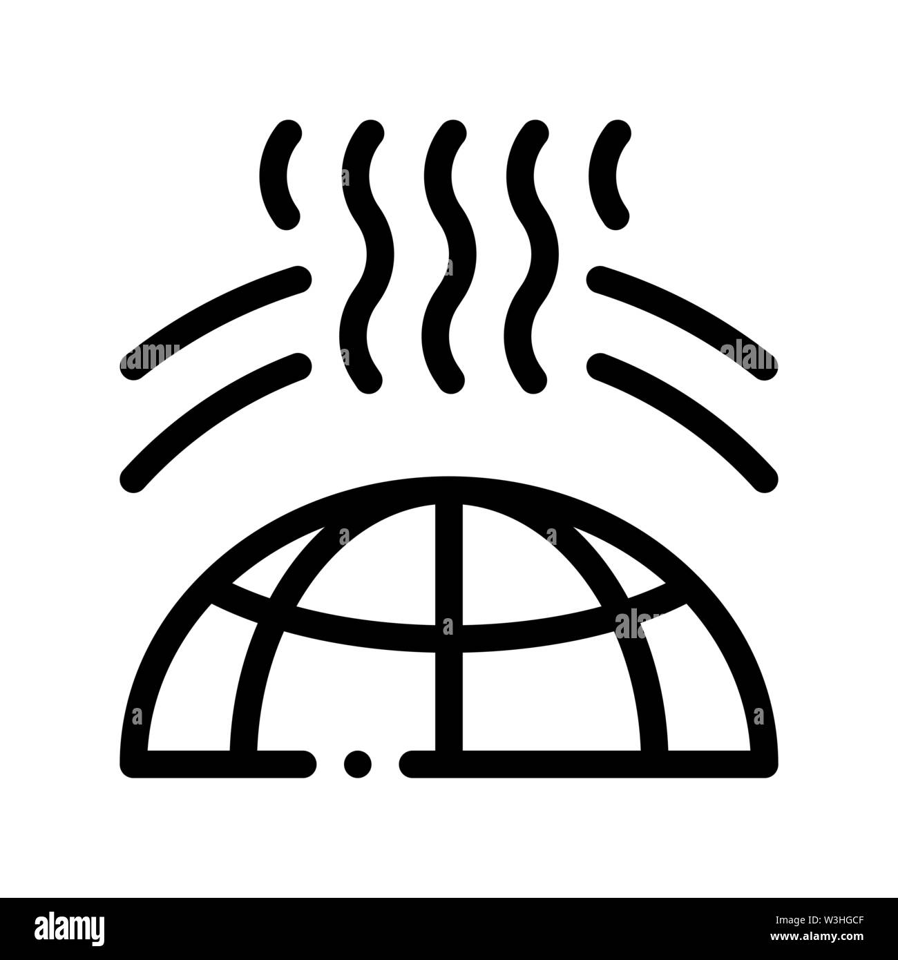 Planet Earth Ozone Hole Vector Thin Line Icon Stock Vector