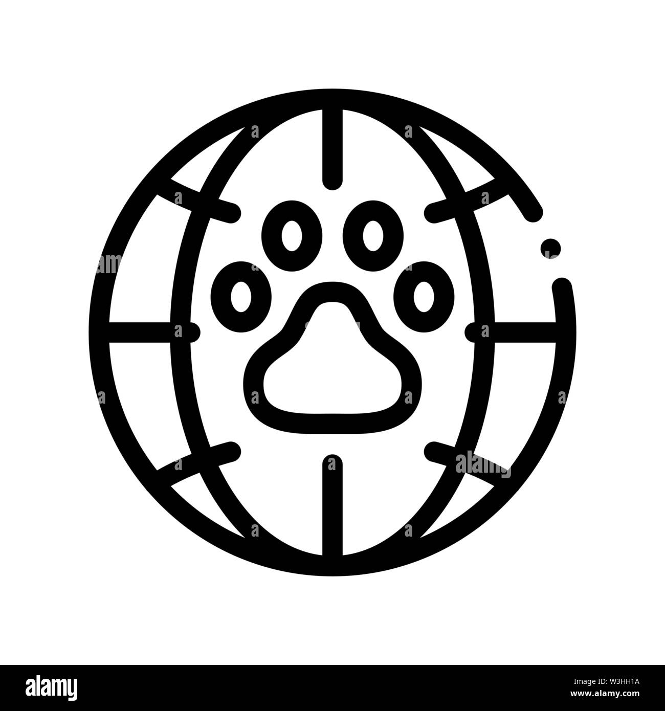 Animal Trail Planet Earth Vector Thin Line Icon Stock Vector