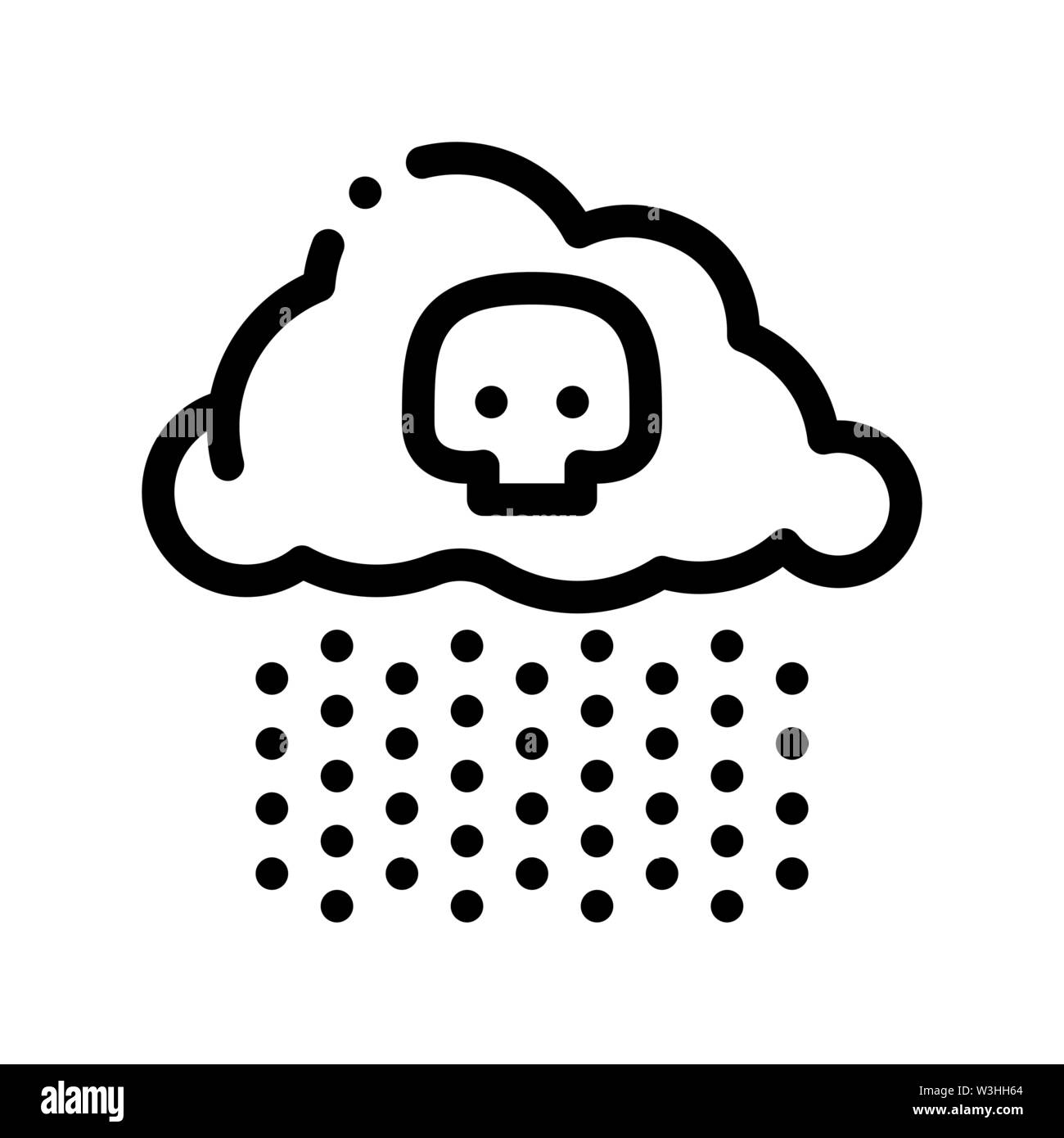 Acid Rain Earth Problem Vector Thin Line Icon Stock Vector