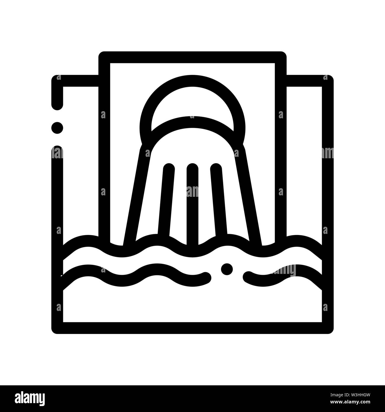 Waste Outpouring From Spout Vector Thin Line Icon Stock Vector
