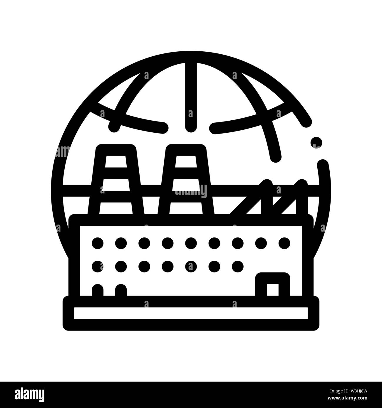 Industrial Factory Planet Vector Thin Line Icon Stock Vector