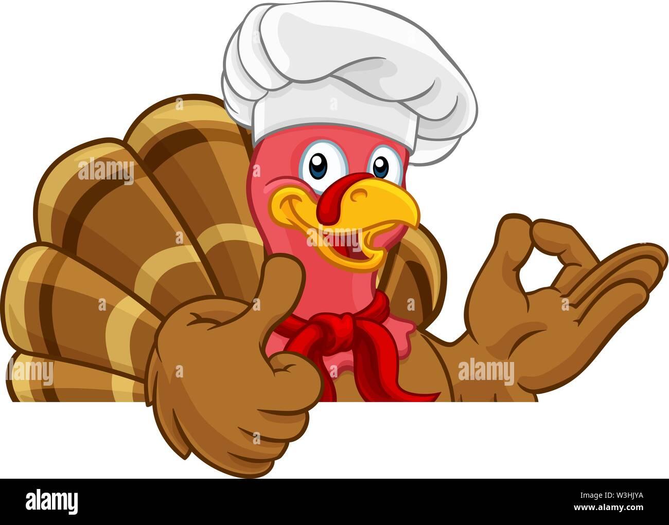 Turkey Chef Thanksgiving or Christmas Cartoon - Stock Image