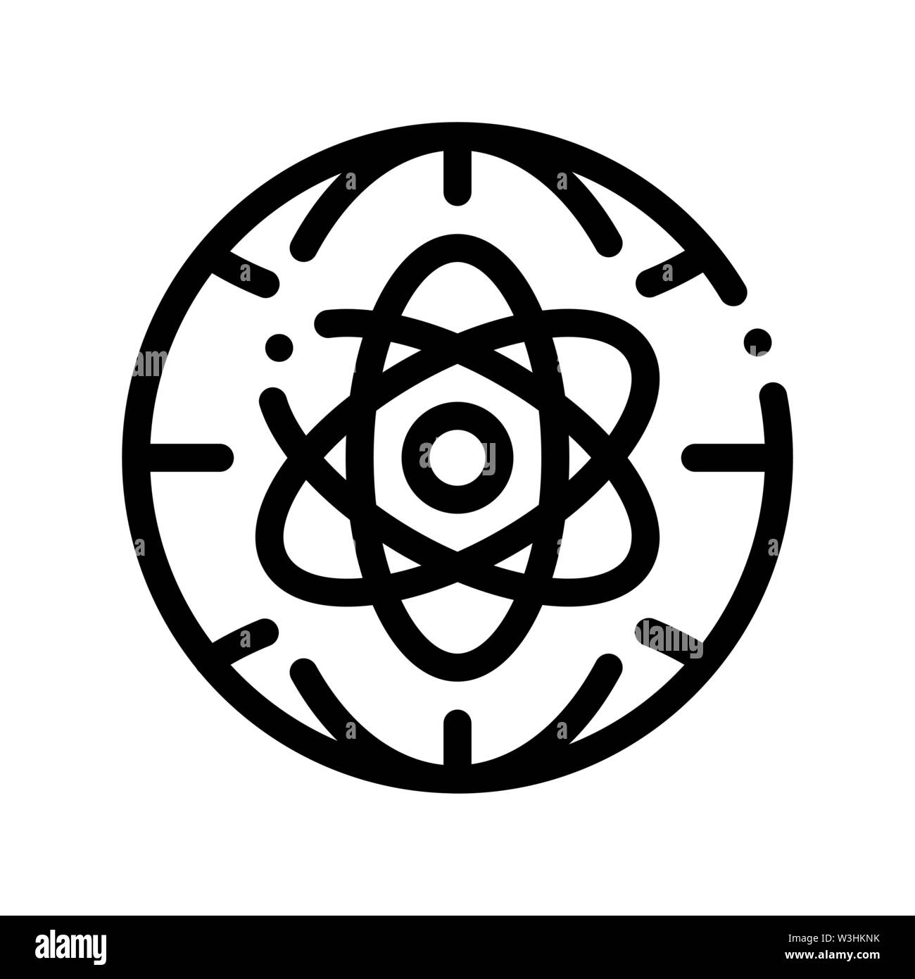 Atom Planet Earth Problem Vector Thin Line Icon Stock Vector