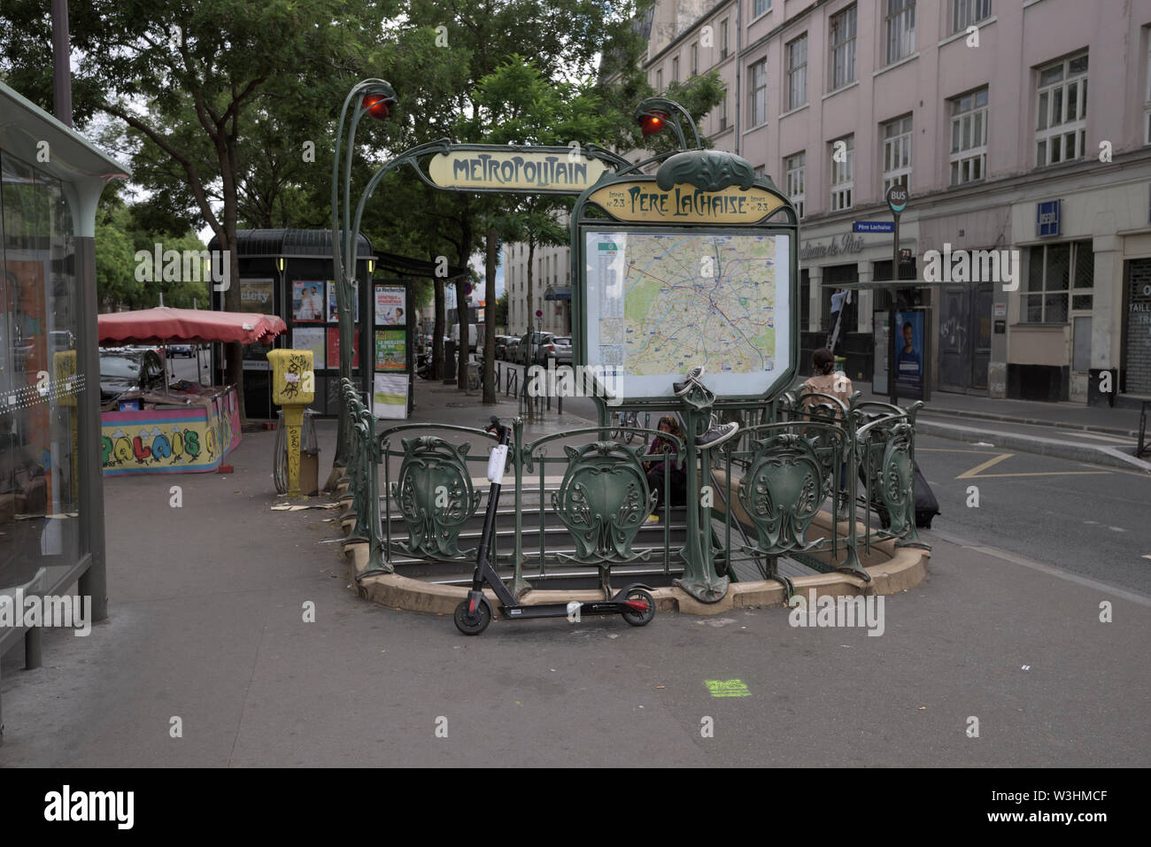 entrance to the metro station Pere Lachaise, Paris, France - Stock Image