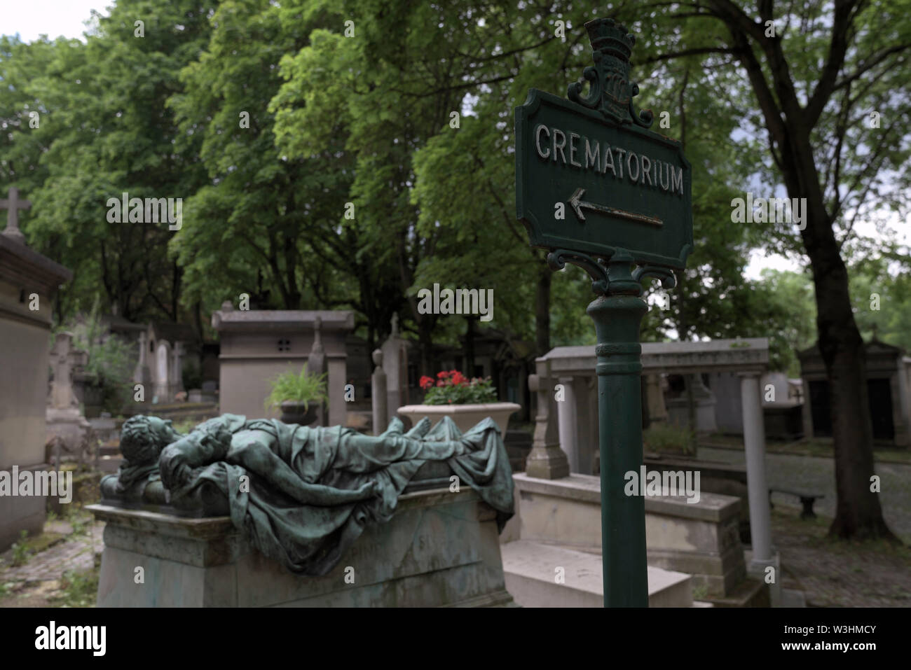 crematory sign at the Pere Lachaise Cemetery, Paris, France - Stock Image