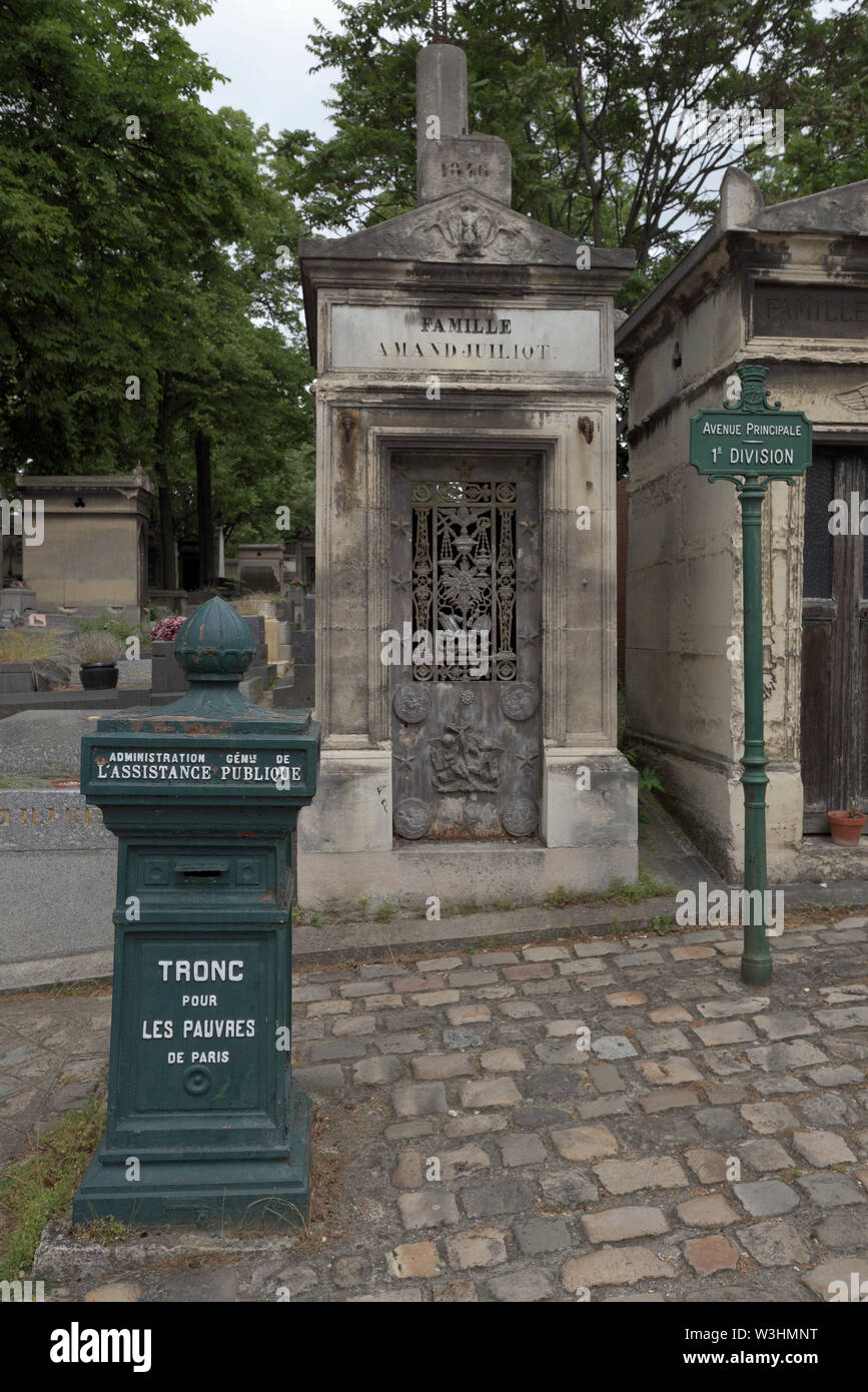 box for the poor at the Pere Lachaise Cemetery, Paris, France - Stock Image