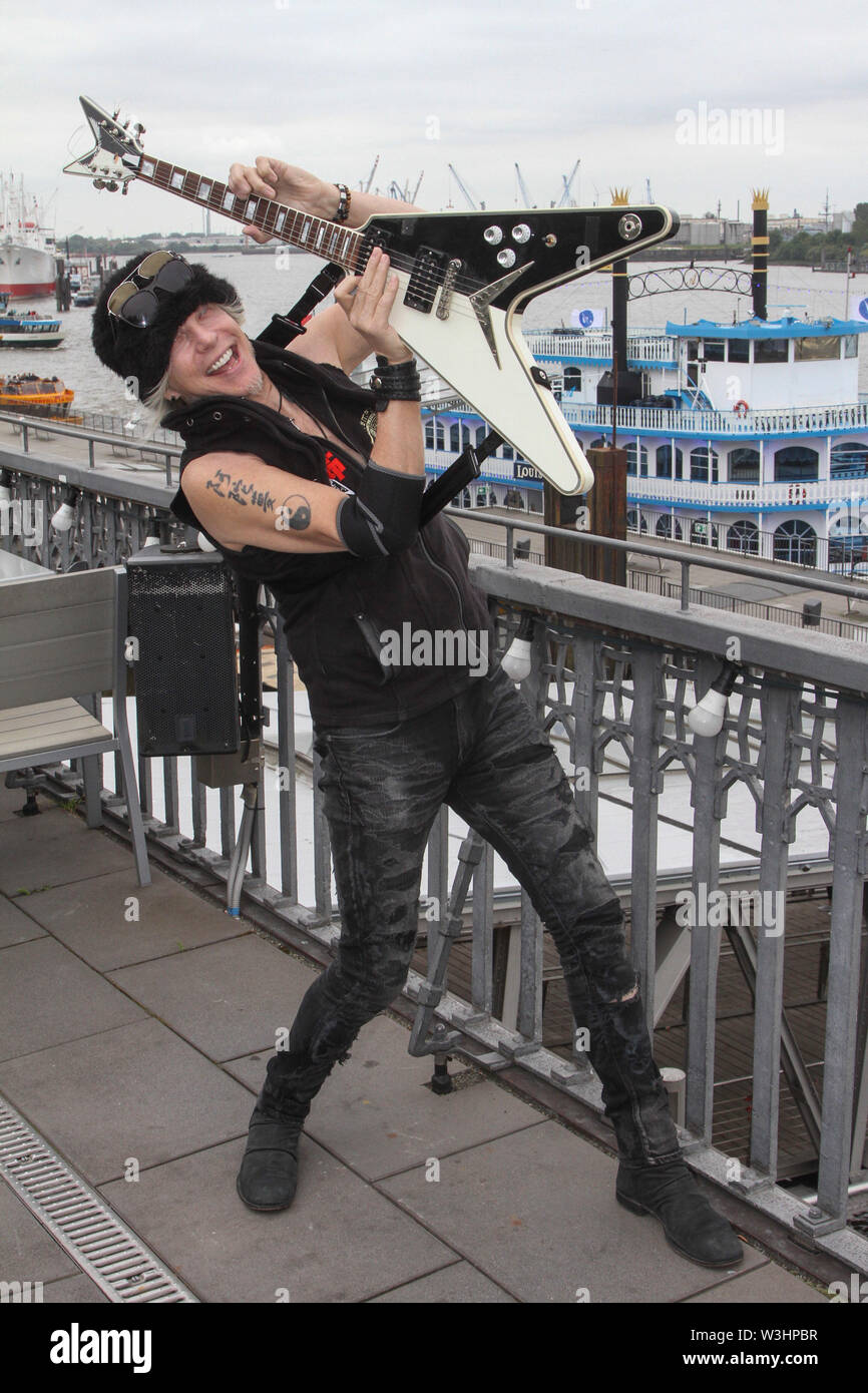 Michael Schenker the German rock guitarist and brother of Rudolf Schenker presents his new album Revelation at the exclusive media day in the Hard Rock Cafe Hamburg on Monday 15.07.2019 | usage worldwide - Stock Image