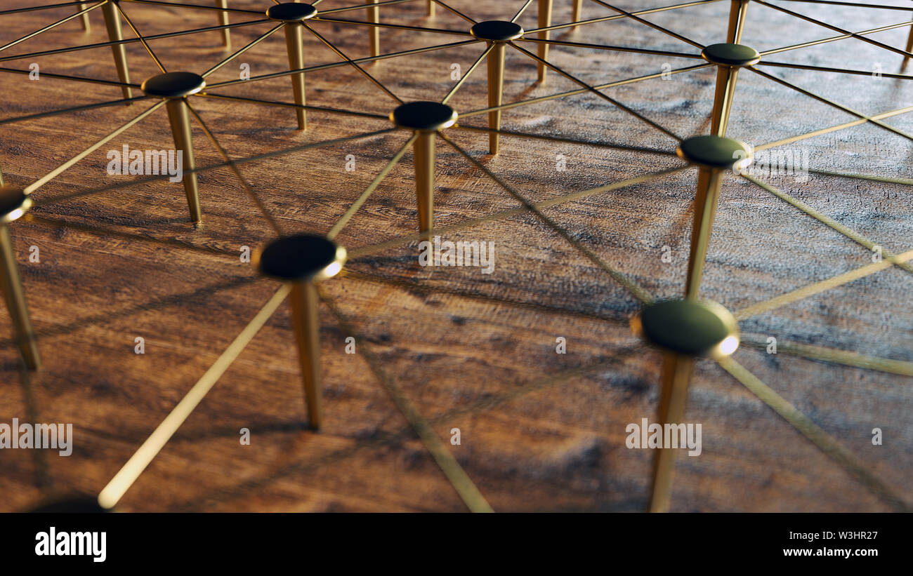 Linked Conceptual Teamwork. Network, Networking, Connect. Abstract Networking. 3D Rendering. High Quality Render. Stock Photo