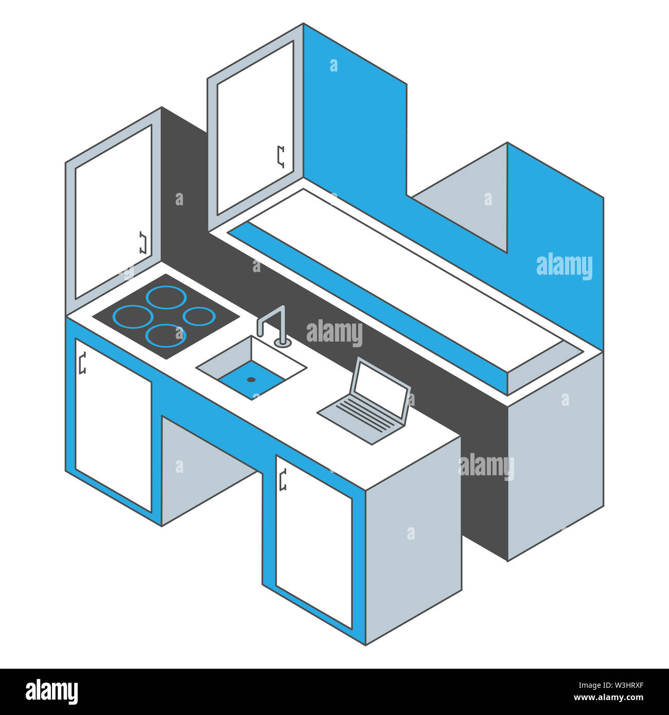 Impossible kitchen. Modern kitchen made of impossible objects. Stock Photo