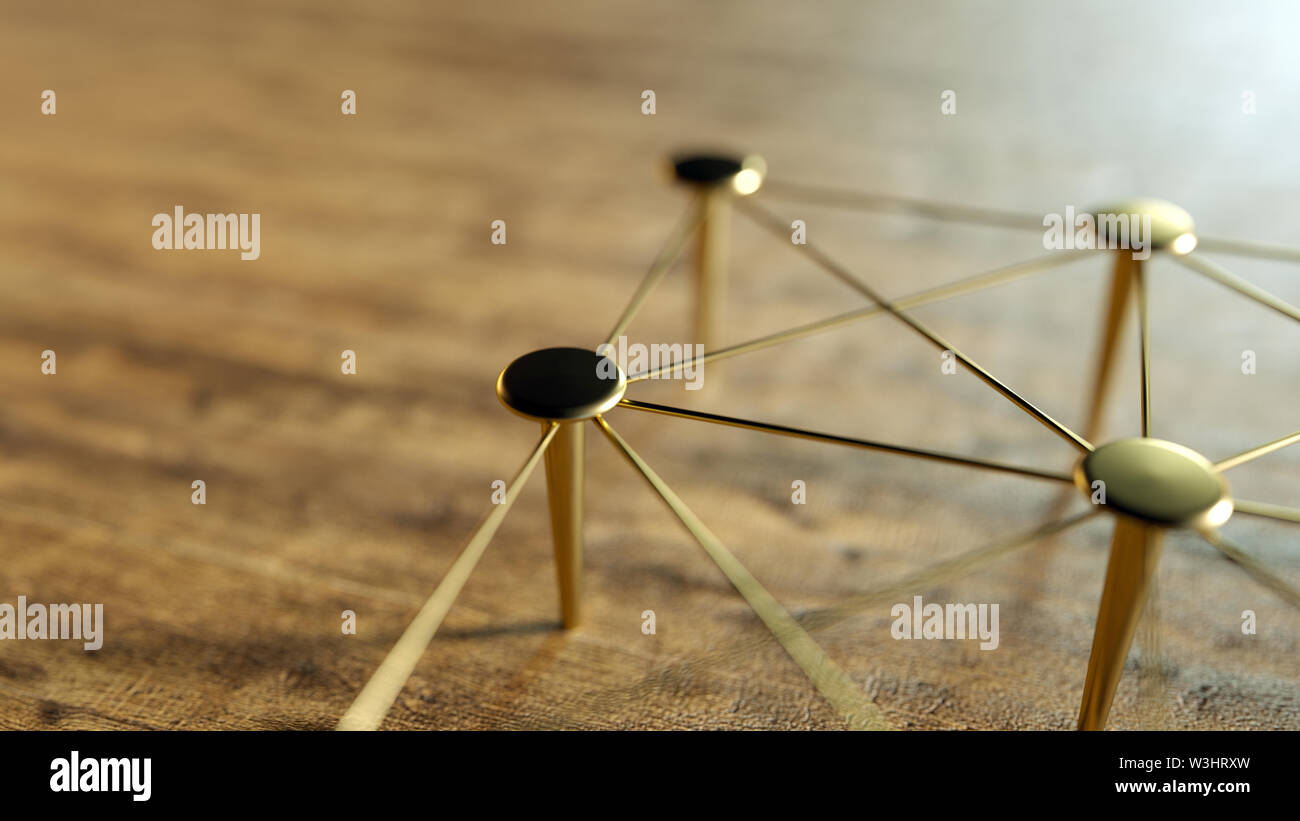 Linked Conceptual Teamwork. Network, Networking, Connect. Abstract Networking. 3D Rendering. Stock Photo