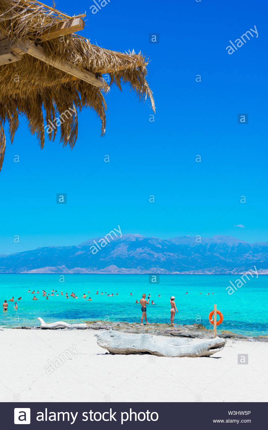 Exotic Chryssi island at the south of Crete, with the amazing Golden Beach, Greece Stock Photo