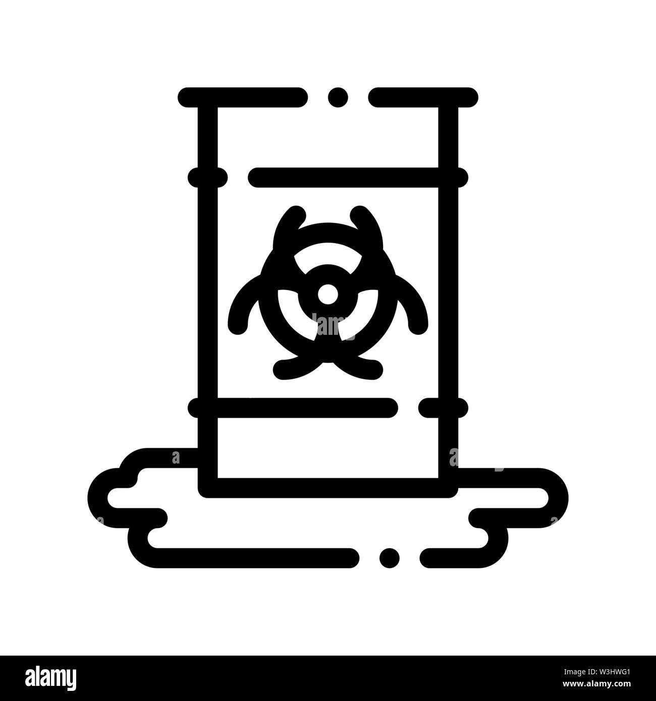 Nuclear Waste Container Vector Thin Line Icon - Stock Image