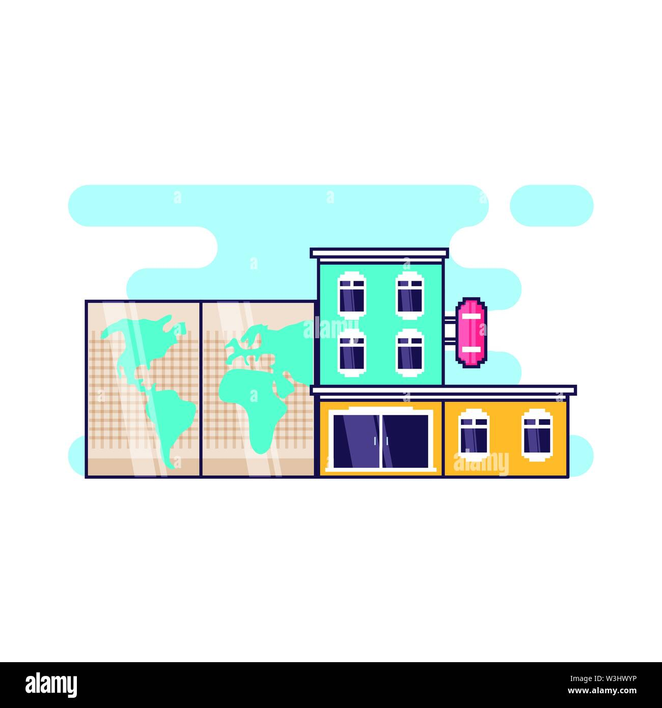 hotel building place with paper map vector illustration design - Stock Image