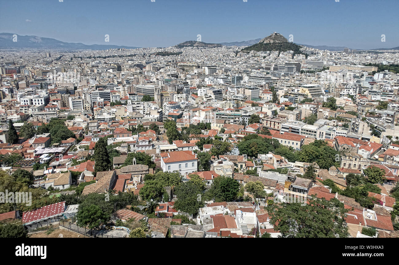 Panoramic top view on the city Athen from the hill of the acropolis - Stock Image