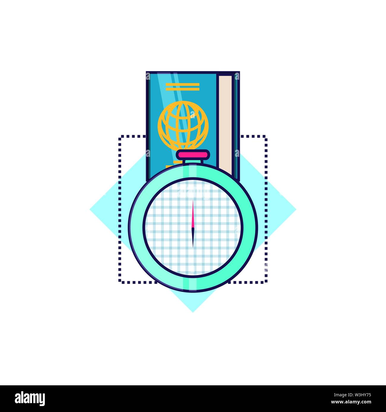 compass guide device with passport vector illustration design - Stock Image