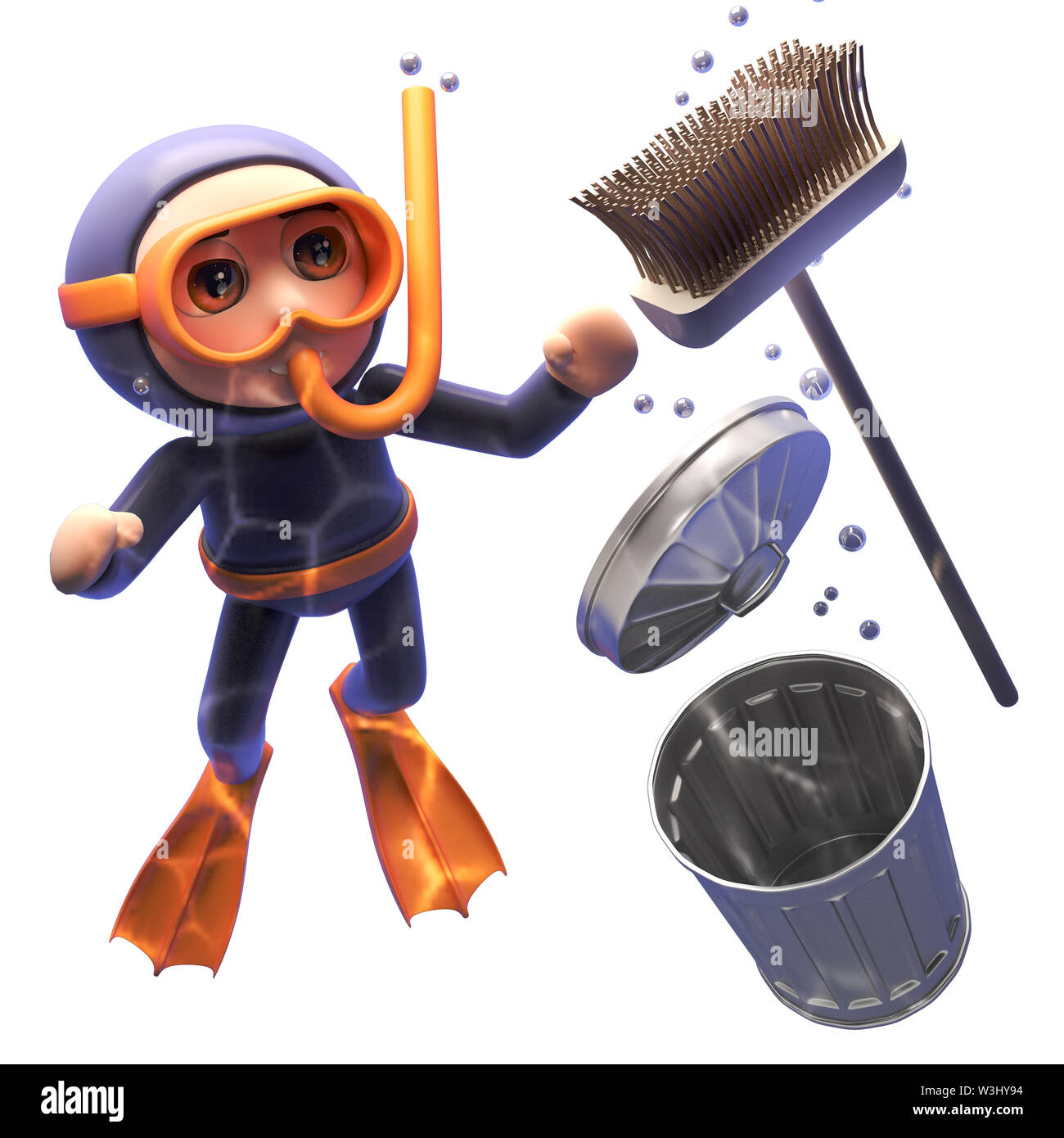 3d cartoon shocked snorkel scuba diver watches a broom and rubbish bin sink to the ocean floor, 3d illustration render - Stock Image
