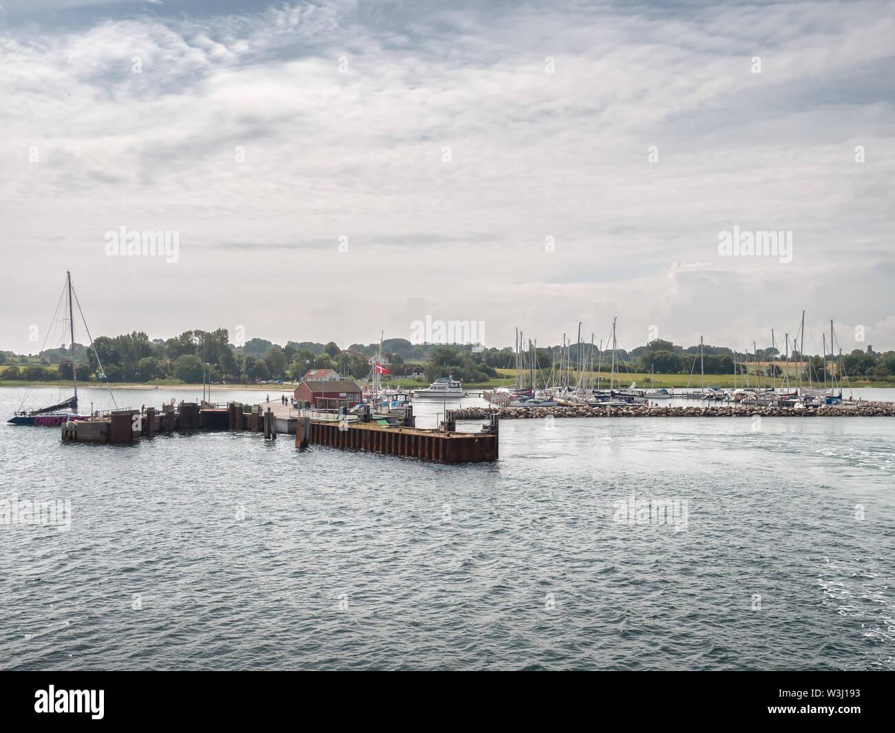 Small harbor marina on Lyoe in the archipelago in Denmark Stock Photo