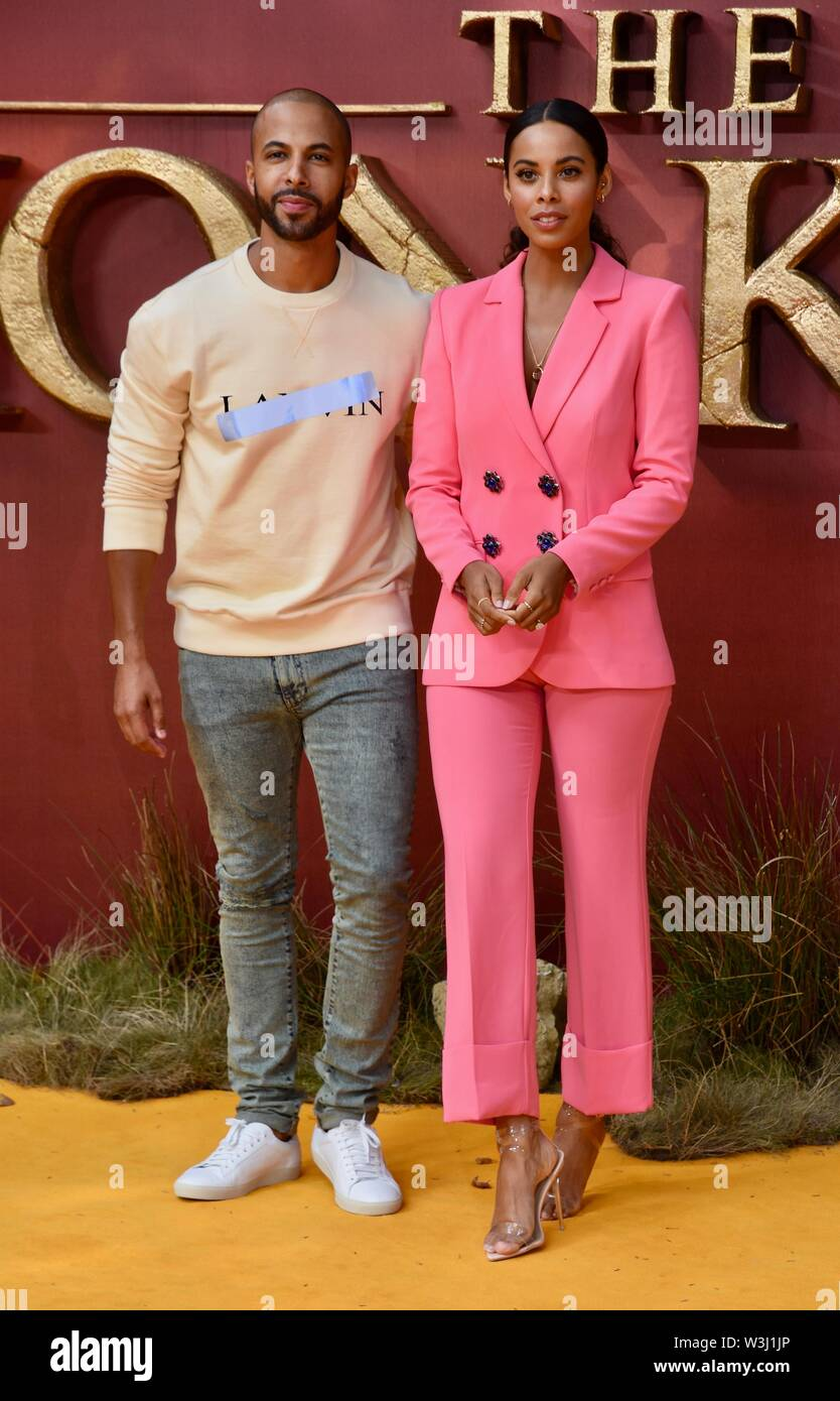 Marvin Humes, Rochelle Humes, The Lion King European Premiere, Odeon Luxe, Leicester Square, London. UK - Stock Image