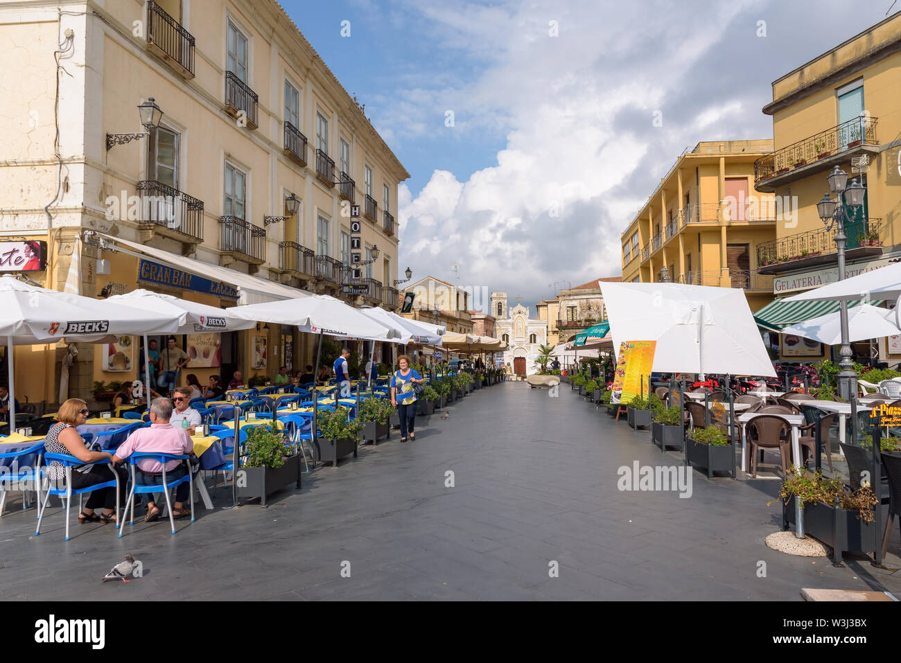 Pizzo, Calabria, Italy - September 10, 2016: Tourists visit restaurants in a picturesque town center of Pizzo in southern Italy Stock Photo