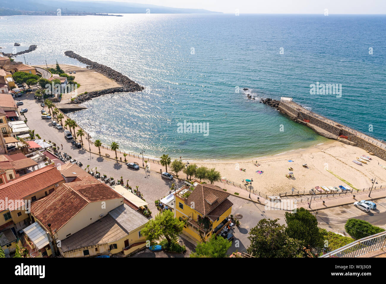 Aerial view of beach in Pizzo town, Calabria, Italy Stock Photo