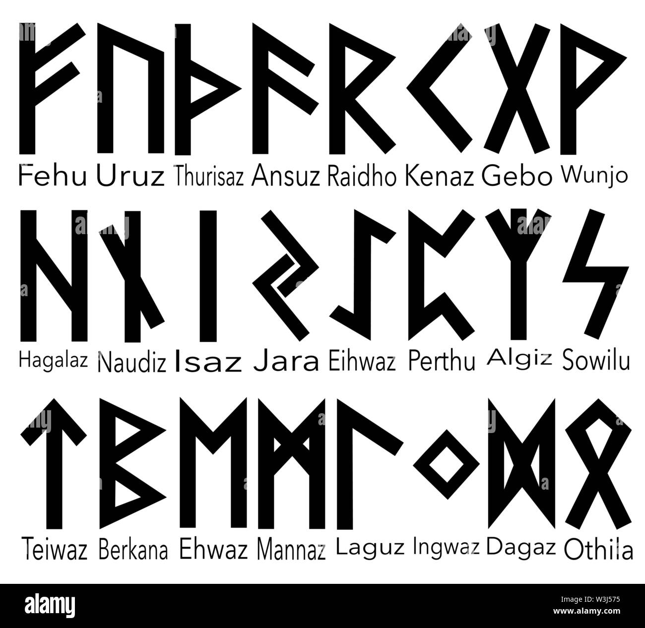 Set Of Old Norse Runes Runic Alphabet Futhark Ancient Occult Viking Characters Letters On White Background Rune Font Vector Illustration Eps 10 Stock Vector Image Art Alamy