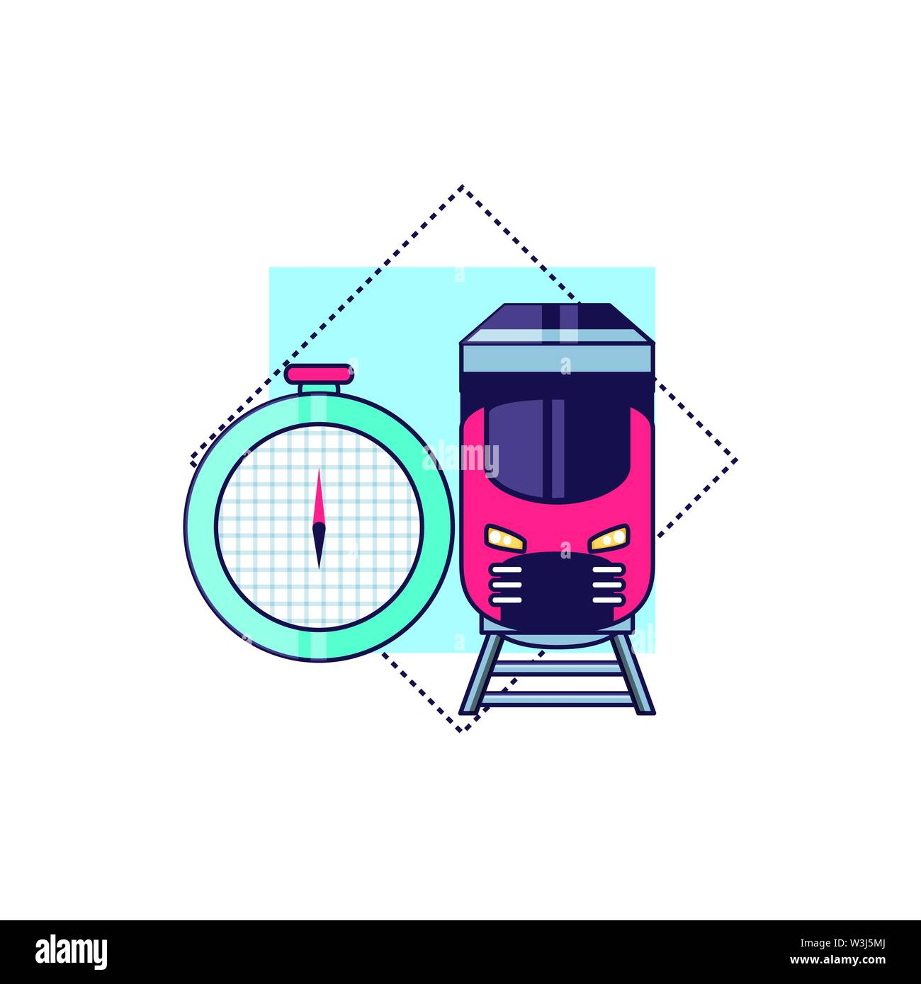 compass guide device with train vector illustration design - Stock Image