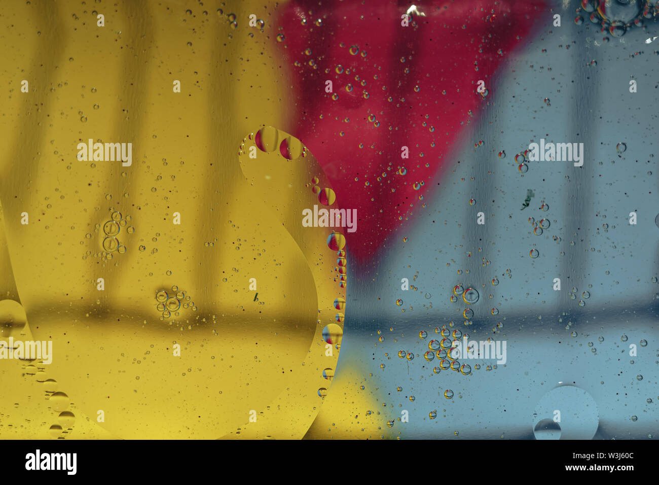 Beautiful color yellow, blue and pinkabstraction background close up. - Stock Image