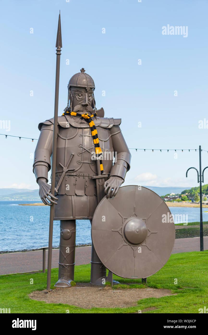 Magnus the Viking Sculpture wearing a Largs Thistle Football Club scarf , Largs, North Ayrshire, Scotland, UK - Stock Image
