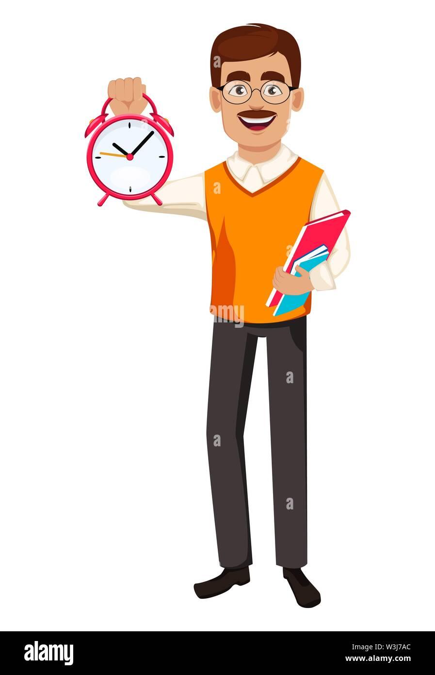Back to school. Teacher man cartoon character holds books and alarm clock. Teacher's day. Vector illustration - Stock Image