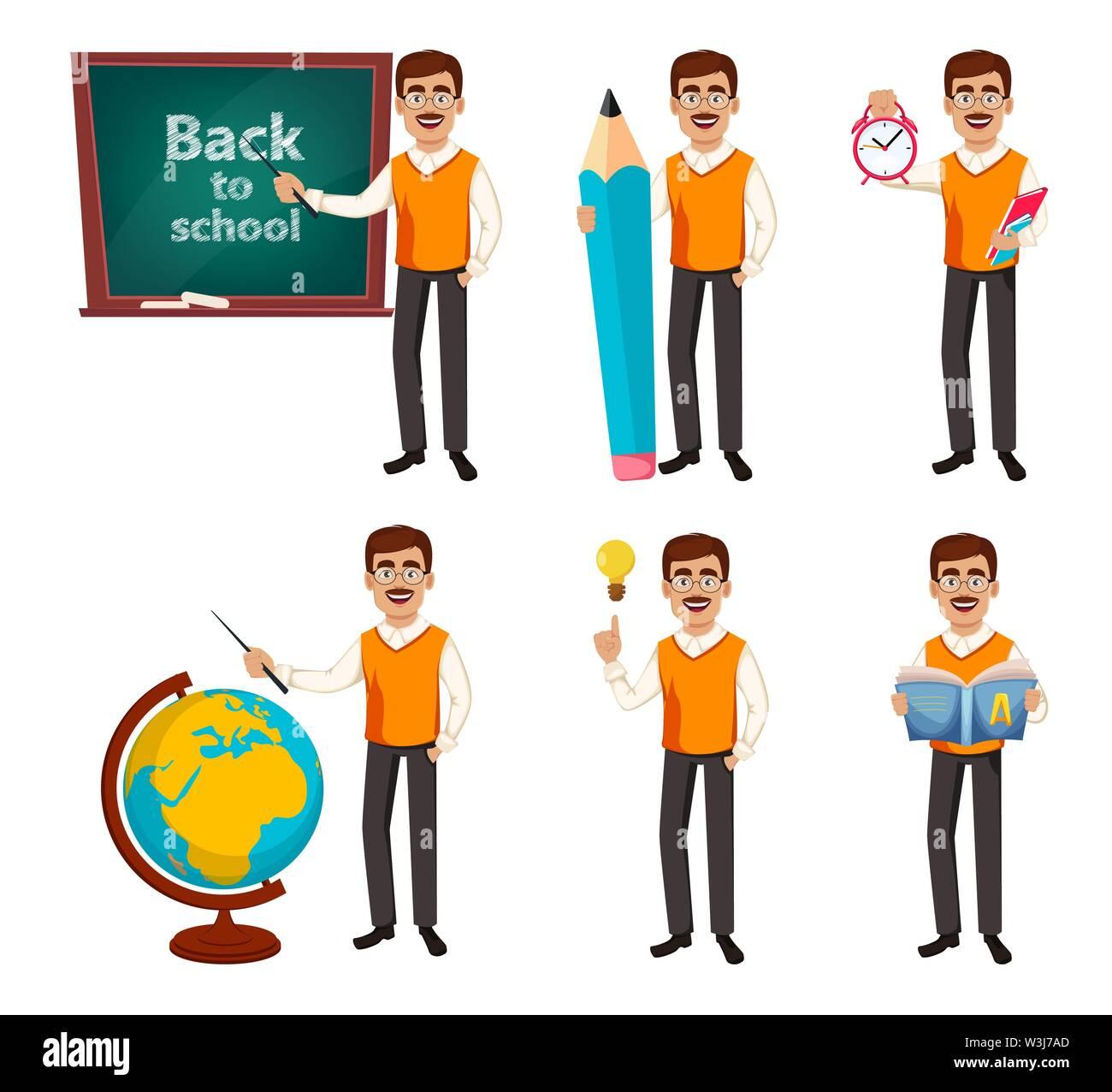 Back to school. Teacher man cartoon character, set of six poses. Teacher's day. Vector illustration - Stock Image