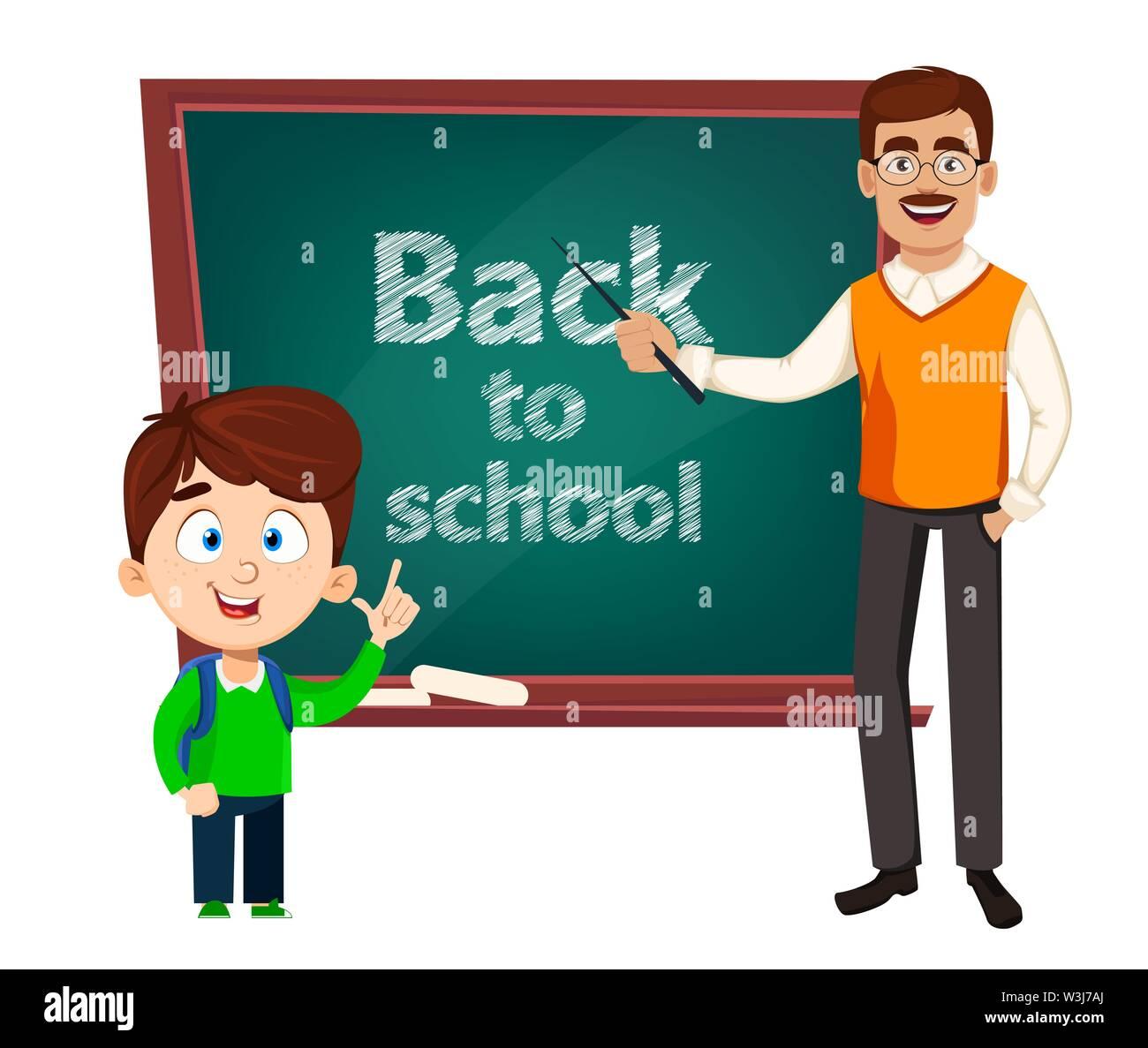 Back to school. Teacher man cartoon character and cute schoolboy. Teacher's day. Vector illustration - Stock Image