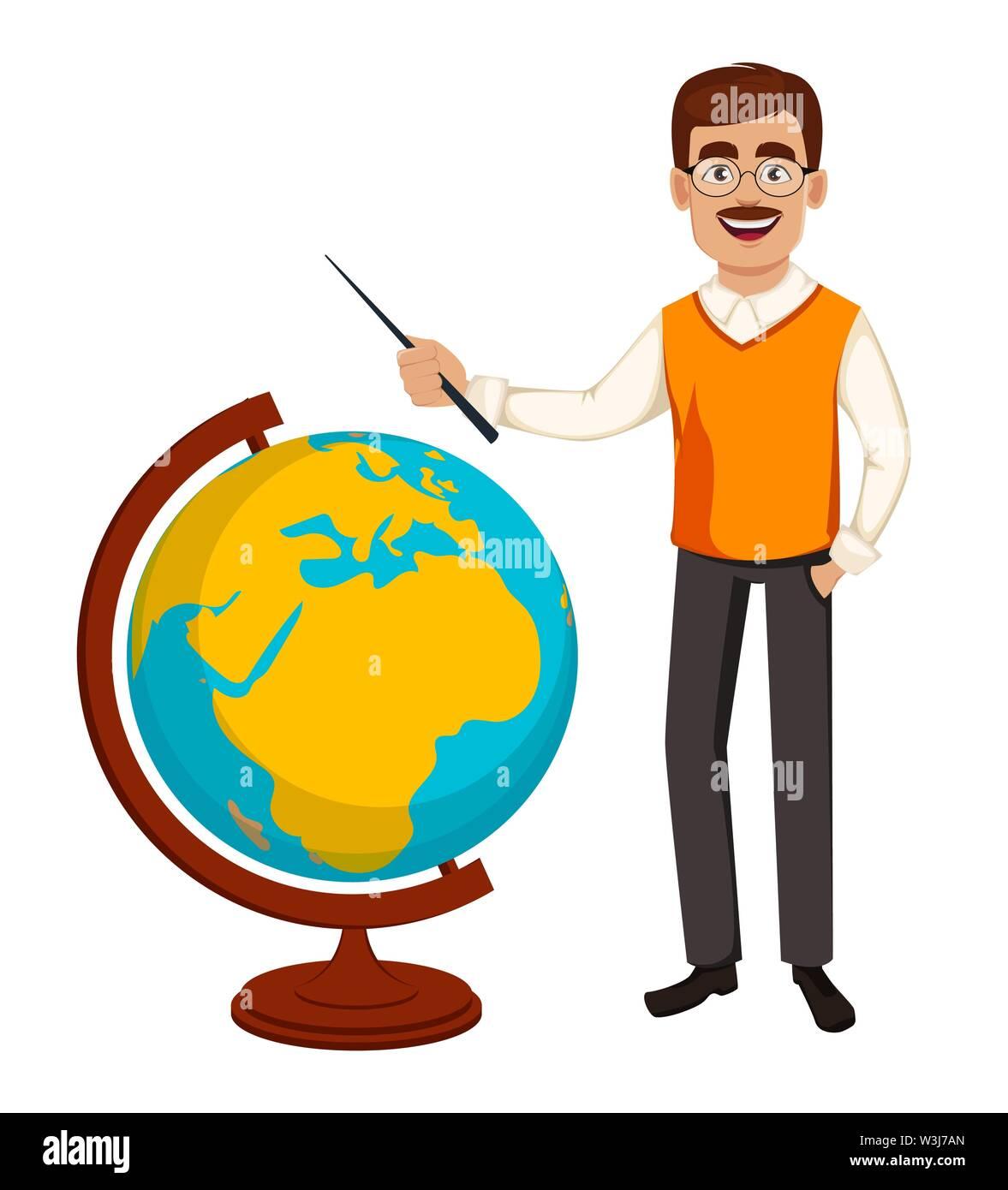 Back to school. Teacher man cartoon character stands near globe. Teacher's day. Vector illustration - Stock Image