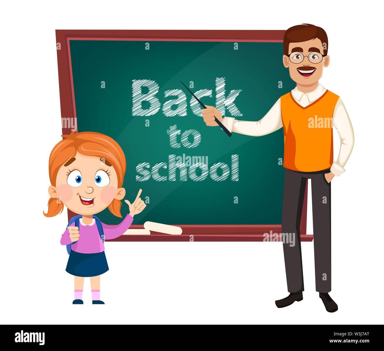 Back to school. Teacher man cartoon character and cute schoolgirl. Teacher's day. Vector illustration - Stock Image