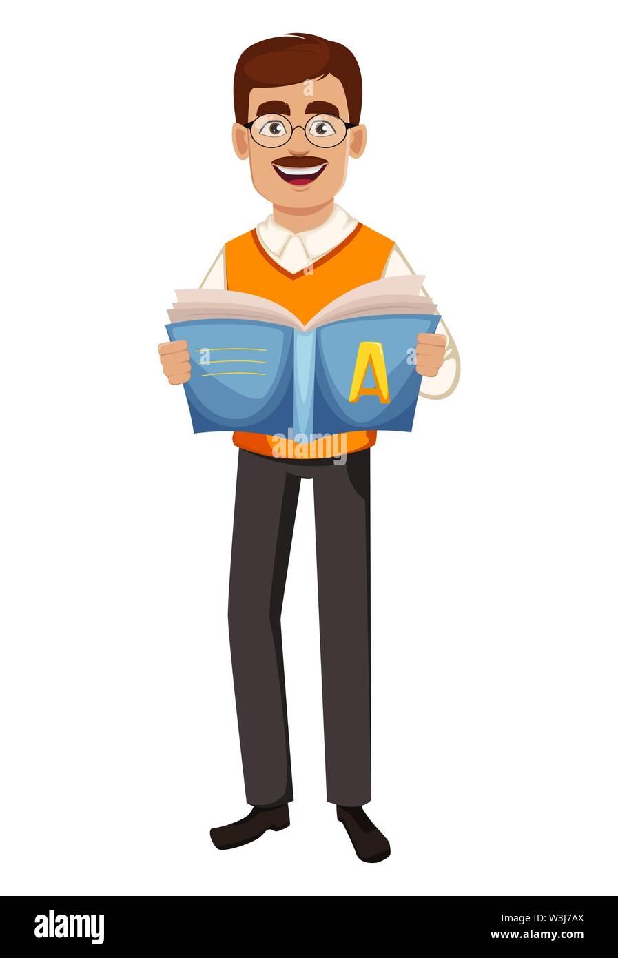 Back to school. Teacher man cartoon character holds abc-book. Teacher's day. Vector illustration - Stock Image