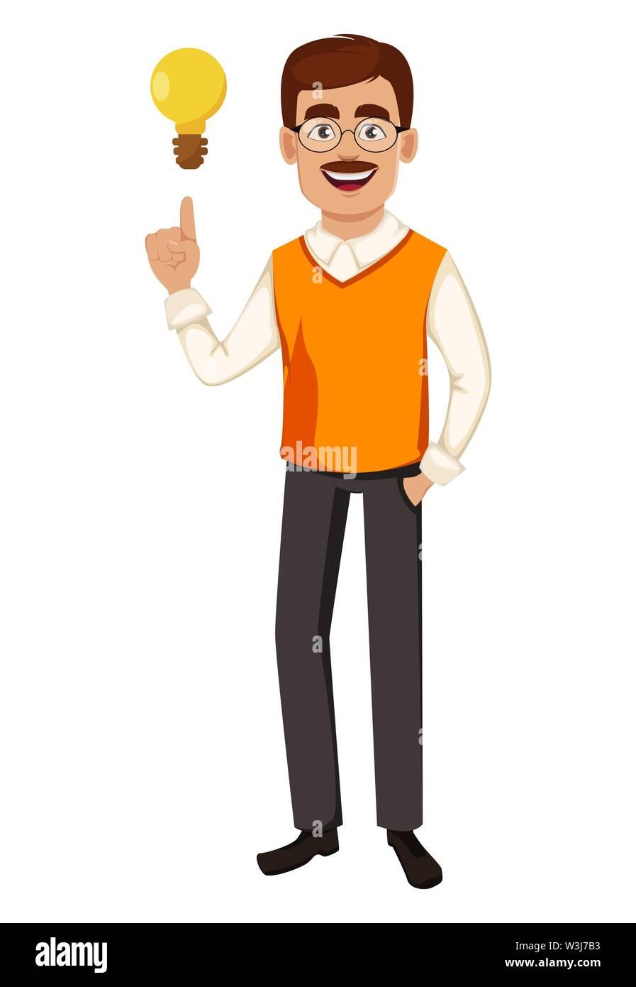 Back to school. Teacher man cartoon character has a good idea. Teacher's day. Vector illustration - Stock Image