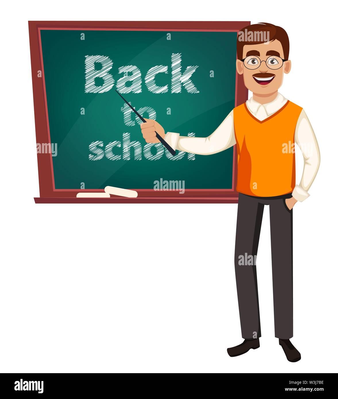 Back to school. Teacher man cartoon character stands near chalkboard. Teacher's day. Vector illustration - Stock Image