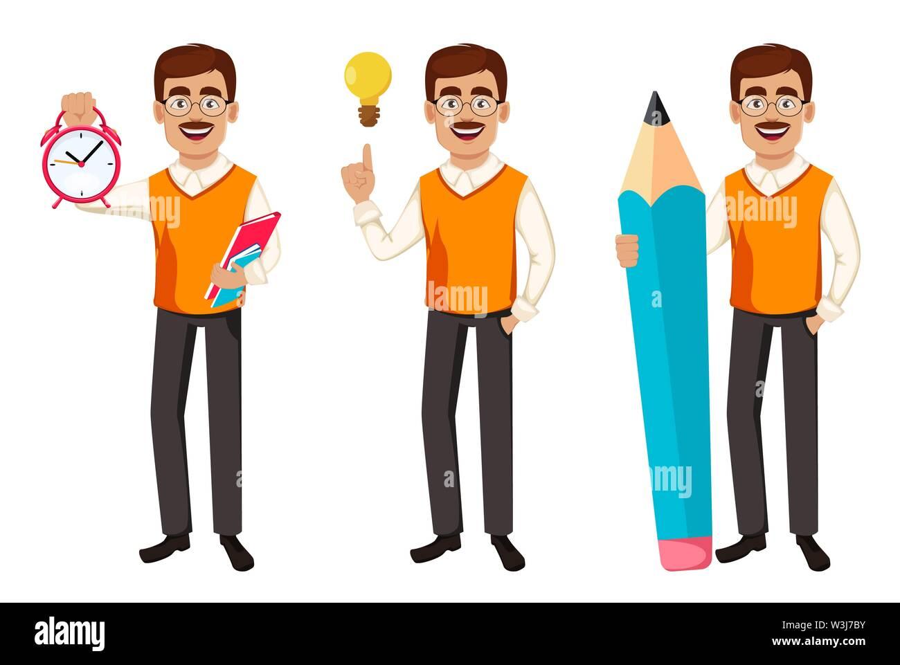 Back to school. Teacher man cartoon character, set of three poses. Teacher's day. Vector illustration - Stock Image