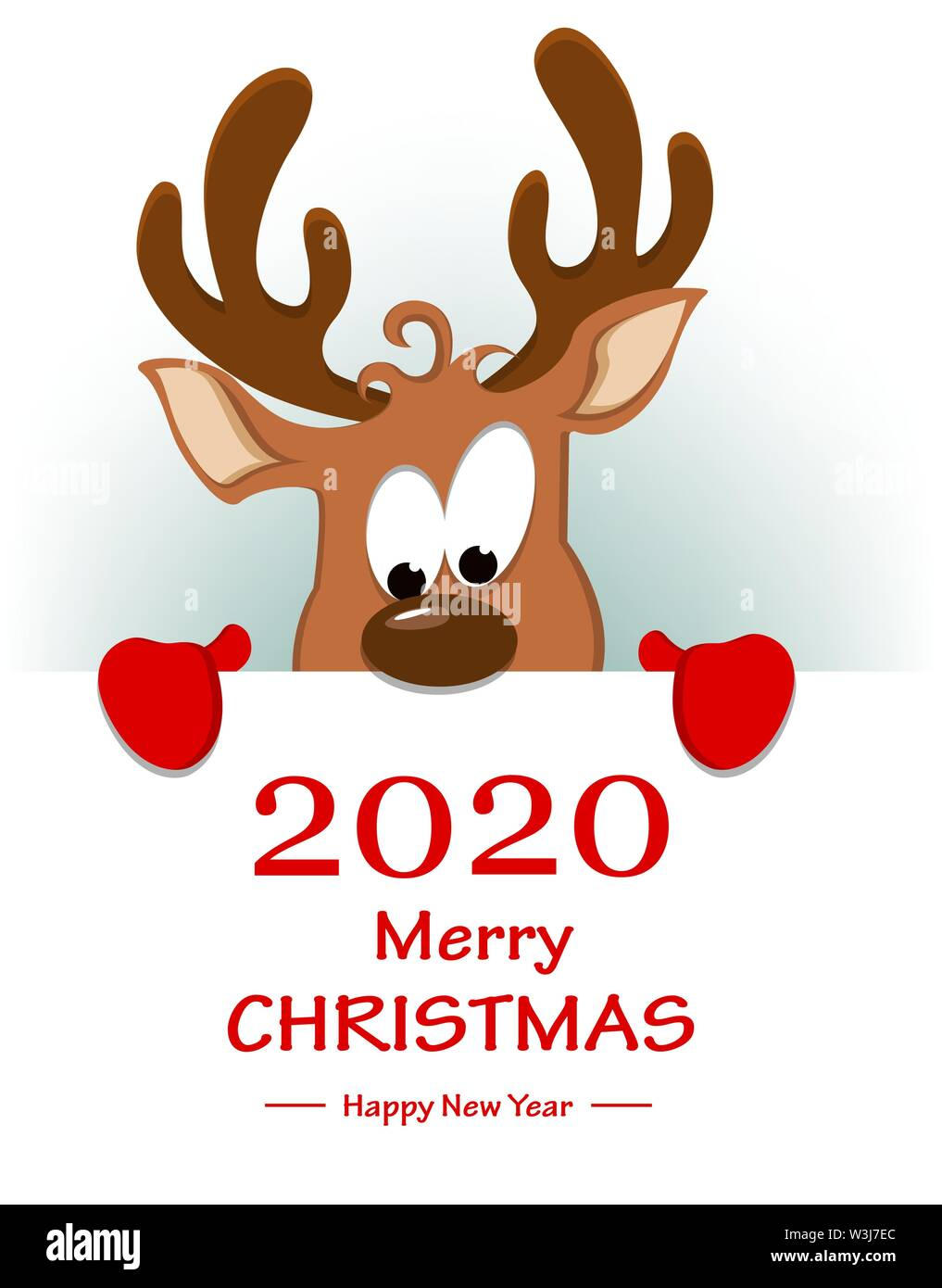 Merry Christmas and Happy New Year greeting card with funny reindeer  standing behind placard with greetings. Vector illustration Stock Vector  Image & Art - Alamy