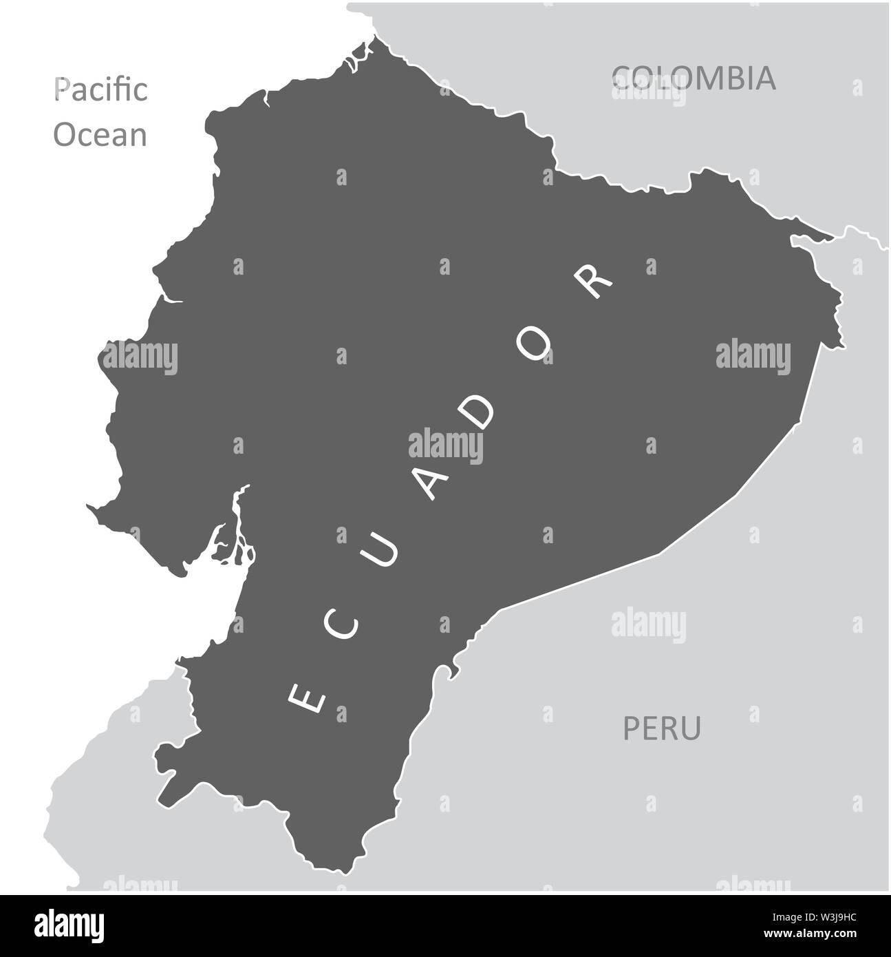 The Ecuador region map in South America - Stock Vector