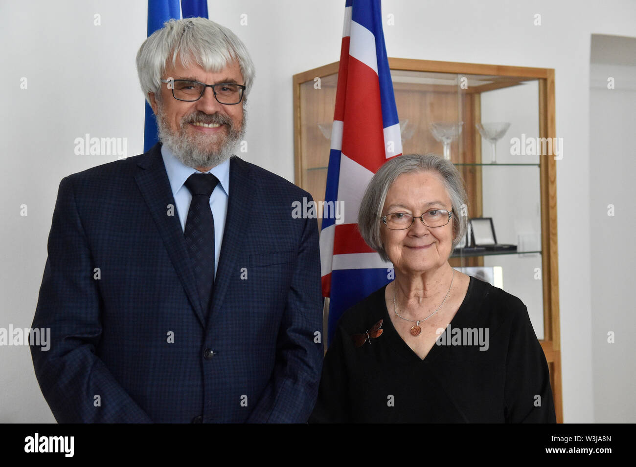 Brno, Czech Republic. 16th July, 2019. Brenda Hale (right), President of the Supreme Court of the United Kingdom, meets with her Czech counterpart Pavel Samal (left), on July 16, 2019, in Brno, Czech Republic. Credit: Vaclav Salek/CTK Photo/Alamy Live News Stock Photo
