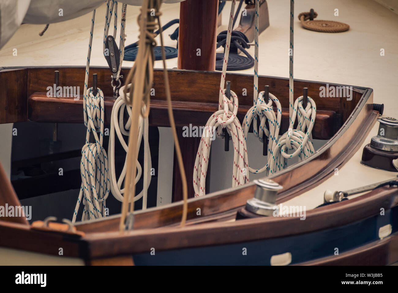Close up of traditional sailing boat. - Stock Image