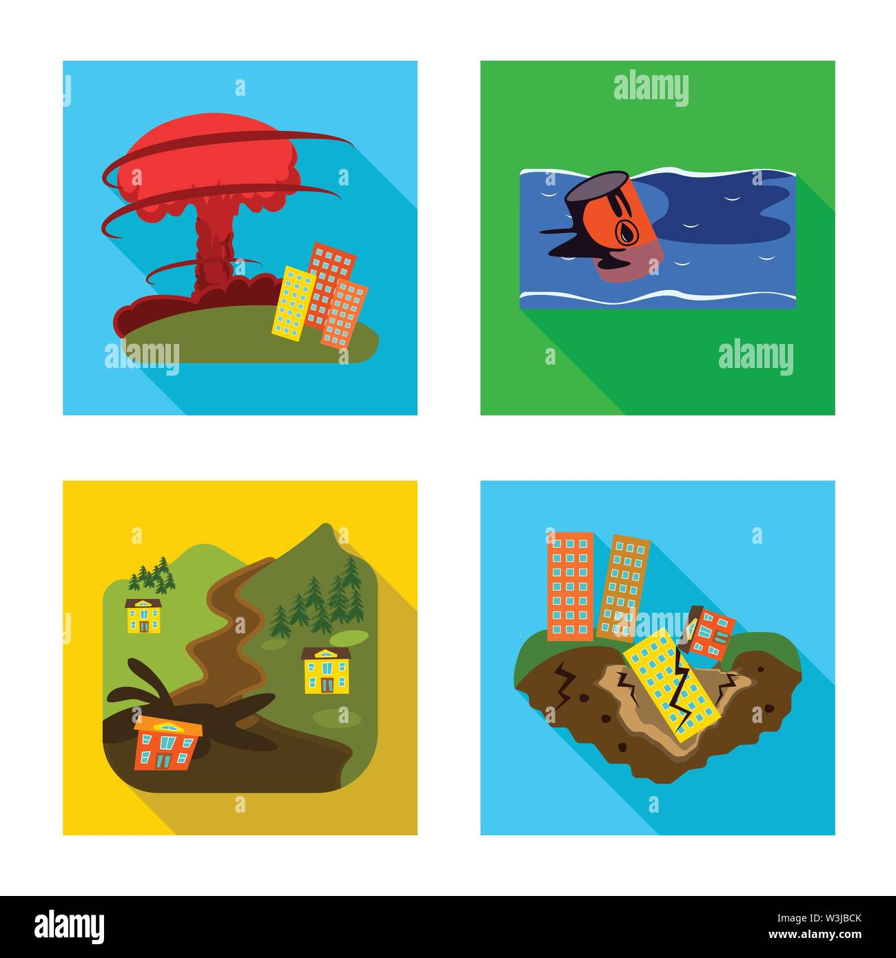 Isolated object of collapse and environment  symbol. Collection of collapse and distress vector icon for stock. - Stock Image