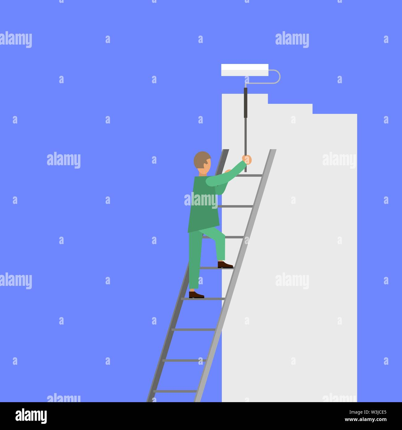 Painter with Roller Painting Wall. Worker on Ladder Paints Home. Renovation and Repair Service Concept. - Stock Image