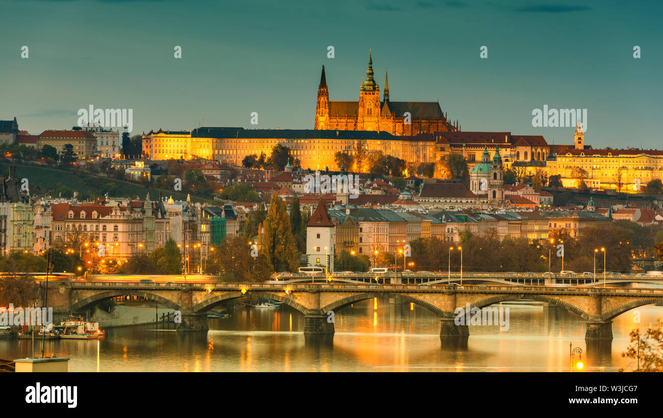 Prague Castle in lights, panoramic view from Vysehrad, Czech Republic - Stock Image