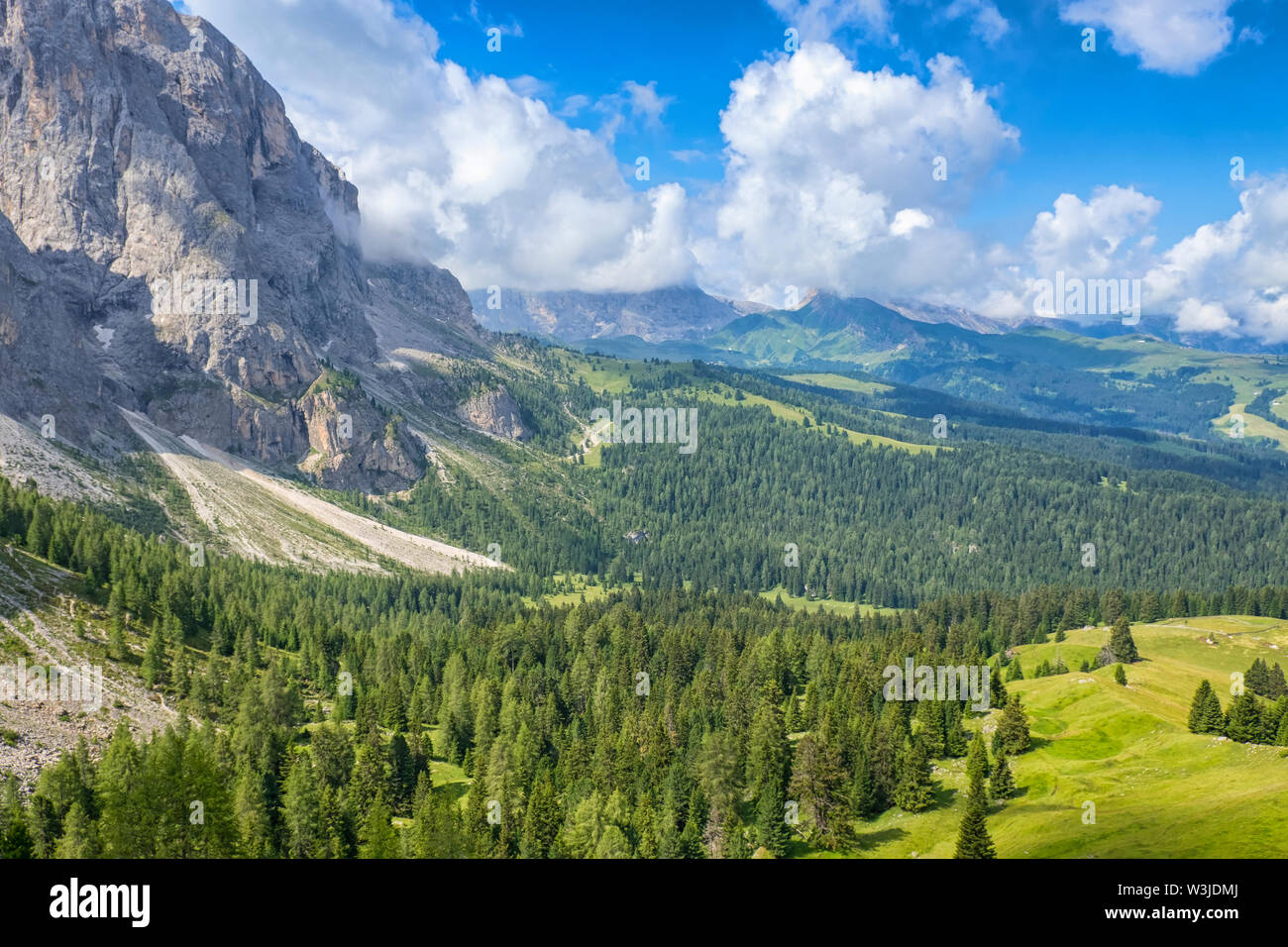 View of a valley and mountains in the alps in the summer - Stock Image